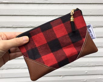 Red and Black Buffalo Plaid Mini Tassel Clutch