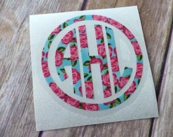 Lilly Monogram Decal | Lilly Pulitzer Circle monogram sticker | Round Monogram | Lily Lilly decal | Yeti monogram | Yeti sticker | DIY