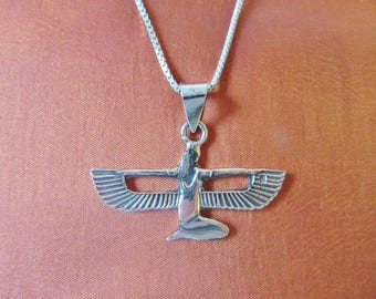 Antique Egyptian Sterling Silver Pendant Necklace Chain of Winged Queen ISIS..STAMPED