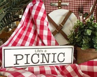Rustic LIFES A PICNIC lighlty distressed summer sign, backyard barbecue sign, backyard picnic sign, picnic basket