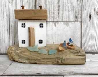Driftwood art, reclaimed wood art, diorama, driftwood houses, coastal decor, seaside art, handmade gift, new home gift, wedding gift