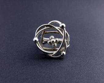 Atomic Model Ring - Science Jewelry - Chemistry Ring - Protons Neutrons Electrons