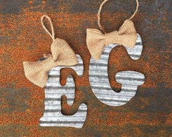 Metal Initial, Rustic Ornament, Tin Letter, Monogram, Christmas Ornament, Rustic Christmas, Initial
