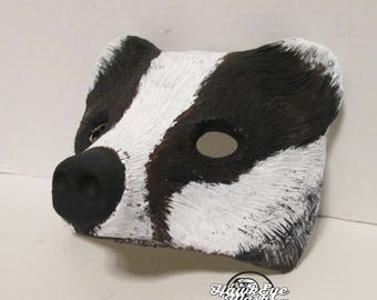 Badger mask, wild Animal costume Mask, hand painted, masquerade mask, Wearable art, Wildlife mask, black and white