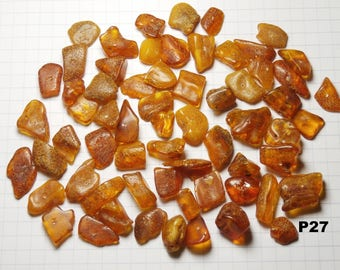 P27 / set of 20g amber beads natural honey color