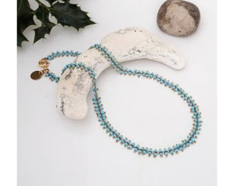 Turquoise Blue seed Bead Necklace