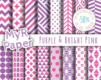 "Geometric Digital Paper Pack: ""Purple & Bright Pink"" geometric patterns for scrapbooking, invites, cards - printable - Backgrounds"