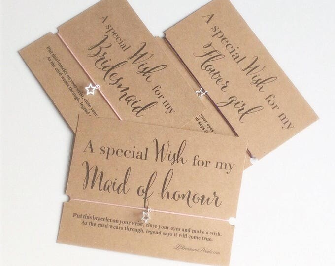 Wish Bracelet, A special wish, Bridesmaid, Maid of honour, Flower girl Wish Bracelet, Wedding Gift, Gift Bracelet and Card.