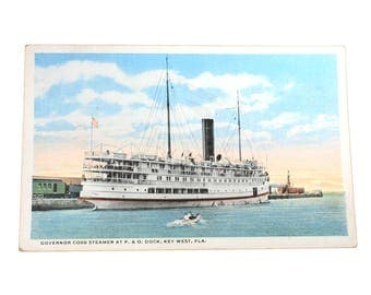 Governor Cobb Steamer at P O Dock Key West Florida, Vintage Postcard