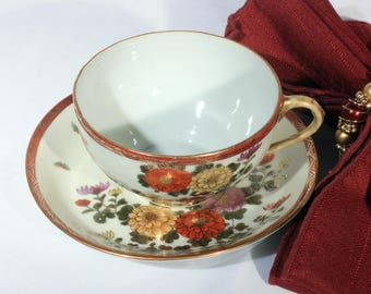 1930s Kutani Floral Tea Cup and Saucer, Burgundy and Gold with Yellow and Purple Flowers