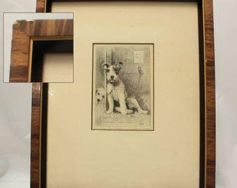 Morgan Dennis Signed Etching - Here Today Gone Tomorrow, Airedale Terrier Wall Art Decor