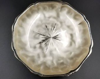 Brushed and Etched Sterling Silver Serving Bowl or Candy Dish by Ikora