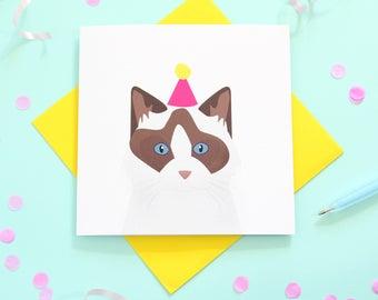 Birthday Rag doll cat card