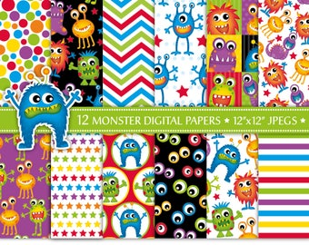 Monster Digital Paper,Alien Digital Paper,Cute Monster Patterns,Fun Digital Papers,Monster Party,Backgrounds,Scrapbook Papers,Commercial Use