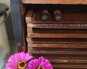 Vintage Wooden Cigar Drying Rack with Nine Pull-Out Drawers