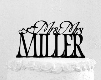Mr and Mrs  Miller Wedding Cake Topper, Personalized with Last Name