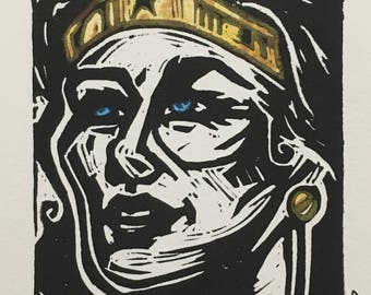 The Amazon (Wonder Woman) Linocut Print