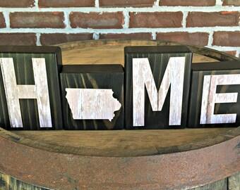 Iowa Home Blocks | Rustic Wooden Letter Blocks | Farmhouse Decor | Housewarming Gift | Gift Under 20 | State of Iowa Decor | Iowa Map