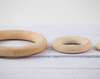 5 x 25mm/40mm Unfinished, Round, Wooden rings for rattles, lactating nursing necklaces, teething toys, DIY