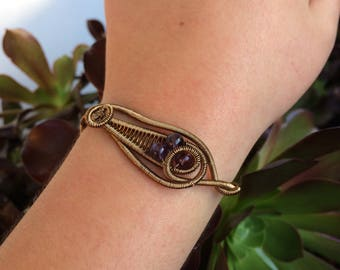 Handmade Amethyst Bead Wire Wrapped Cuff
