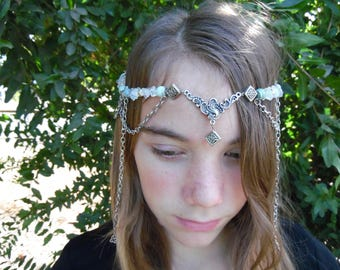 Celtic Jade circlet, Renaissance, Wedding's, Handfastings, Costume Parties, Gemstones, Head dress