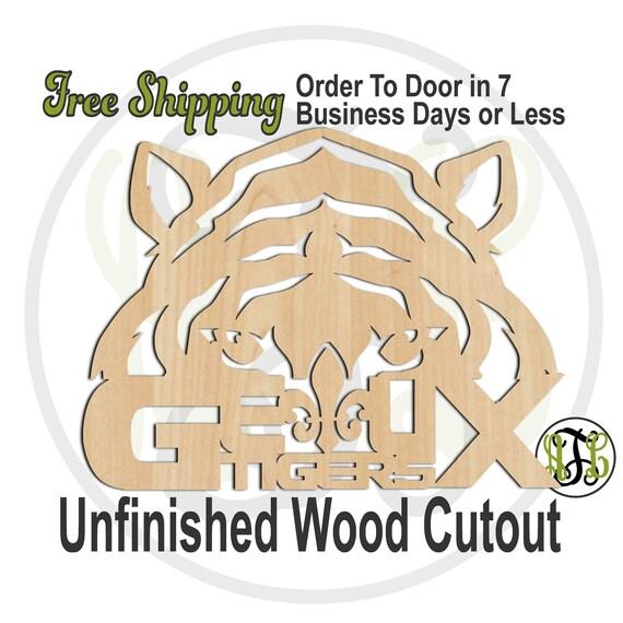 Geaux Fleur de Lis Tiger Head Outline- 60175- School Spirit Cutout, unfinished, wood cutout, wood craft, laser cut shape, wood cut out