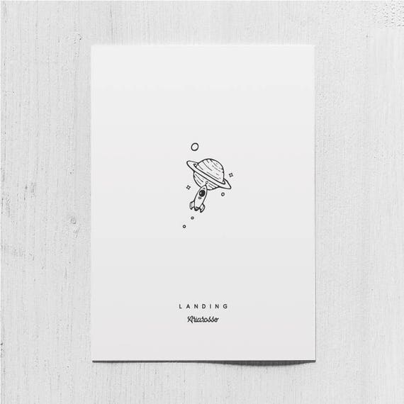 Poster Art Print - Landing - Blackwork Series A5 Size - Rocket Saturn ...