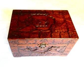 SALE Hand Carved Wood Box - Monkeypod Jewelry Box - Asian Box - Chinese Box- Monkey Pod Carved Village from Philippines - Medium Trinket Box