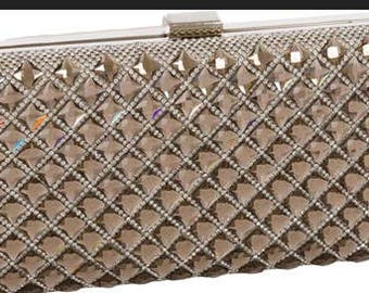 New Gold and Clear Rhinestone HardShell Clutch Bag