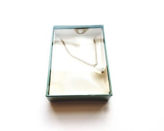 Vintage Gold Necklace with Pearl Pendant in Original Box
