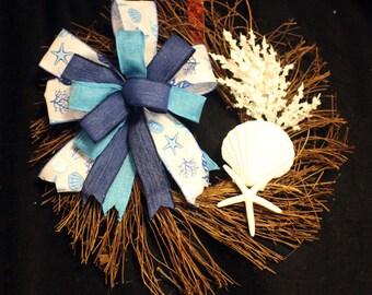 Seashell Wreath, Coastal themed twig wreath, Nautical Decor, Twig Coral Wreath