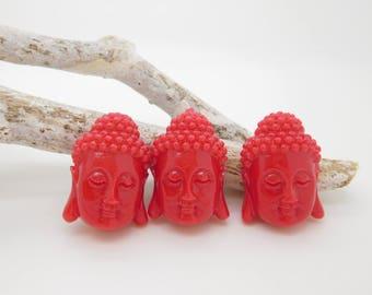 2 large beads red coral synthetic 28mm Buddha / Buddha / shiva