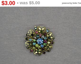 Multi Colored Rhinestone Brooch