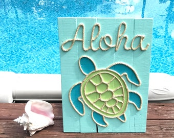 Handmade Aloha Turtle with Rope Beach Pallet Art Coastal Decor Rope Art Turtle Art Pallet Art Nautical Art Aloha Wood Sign Aloha Turtle Sign
