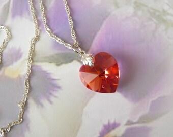 a 18 mm Padparadscha AB swarovski crystal heart pendant necklace