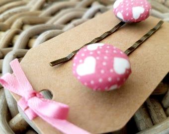 Pink Heart Print Button Hair Grip
