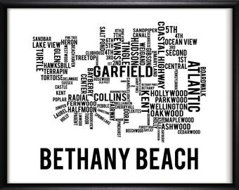 Bethany Beach Delaware Typography Street Map-FREE SHIPPING