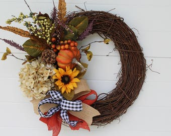 Fall Wreath, Fall Hydrangea Wreath, Thanksgiving Wreath, Autumn Wreath, Fall Decor, Pumpkin Door Wreath, Home Decor, Wall Decor, Fall