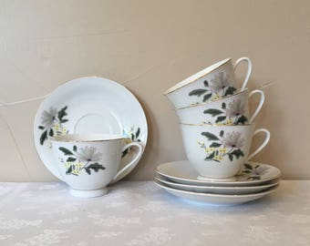 China Tea Cups & Saucers 4, Vintage Made In China, Retro 1950's Mid-Century Floral Pattern, Pink Yellow Green Grey Floral Pattern, Unusual