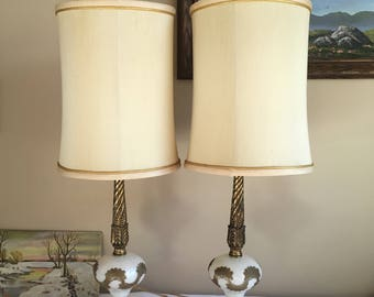 Large Table Lamps with Original Shades, Vintage 1970s Art Nouveau Style Cast Metal Gold/Brass Tone and White Glass, Kayton Lamp Co Inc N.Y.
