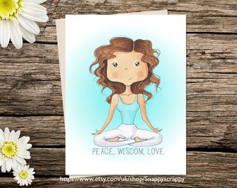 Printable Card, Birthday Greeting Card, Printable Cards, Digital Download, Any Occasion, Yoga Mum Card