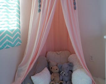 Play canopy in blush pink/ hanging tent/ reading nook canopy/hanging canopy