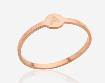 14k rose gold stacking ring initial ring personalized stackable ring monogram letter ring  simple everyday ring minimalist jewelry