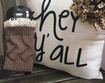 Boot Cuffs Brown with Cream Lace