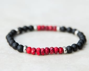 Black Matte Onyx Beaded Bracelet, Red Howlite, Stackable Bracelet,Silver Beads, Mala Bracelet, Mens Toggle Bracelet, Healing Jewelry