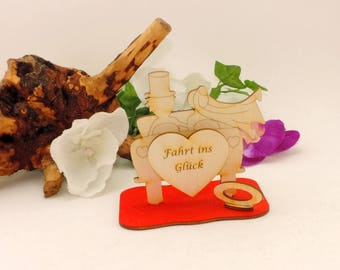 Standing couple in the car with your saying with banknote holder for money or voucher at weddings, 10 cm high and wide
