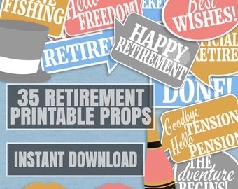 35 Retirement party photo props, retirement party photo booth props, retirement selfie props, last day at work photobooth party props