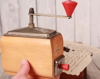 Coffee grinder, Vintage coffee grinder, Wooden body coffee mill, Coffee grinder hand mill, Coffee grinder with drawer, Vintage kitchen decor
