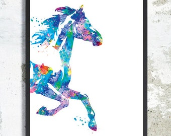Horse Watercolor Print Horse painting Horse poster Horse wall decor Horse wall art Horse nursery Horse liviing room art father gift Boy gift