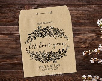 Personalized Seed Packet, Seed Favors, Wedding Favour, Kraft Seed Envelope, Seed Packet, Let Love Grow Favor, Rustic Wedding x 25